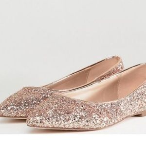 ASOS DESIGN Latch Extra Wide Fit Pointed Ballet